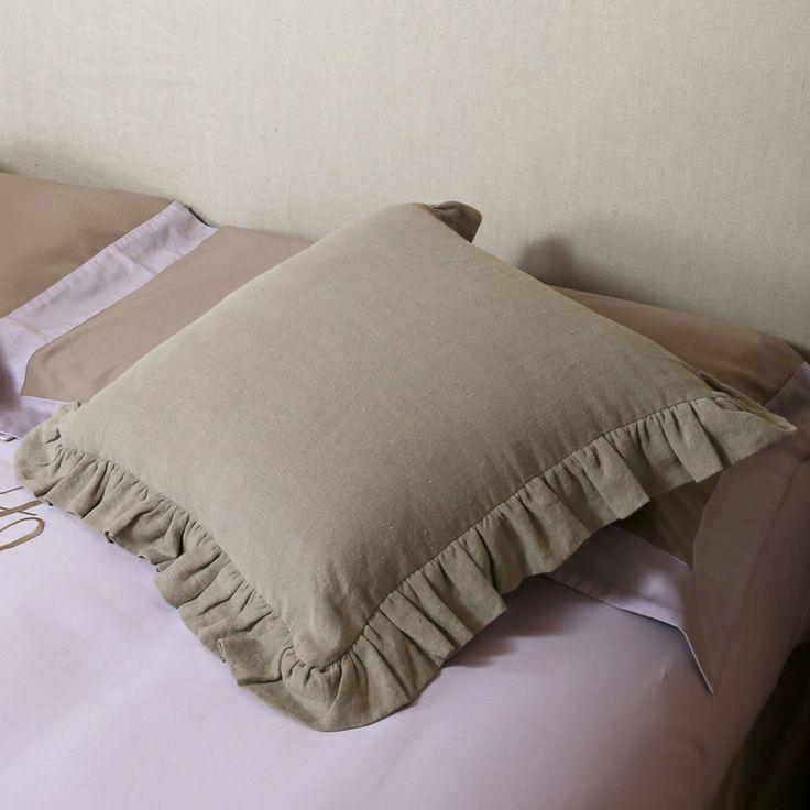 cuscini lino con volani colore flax by Libeco #bedrooms #pillow #cushion