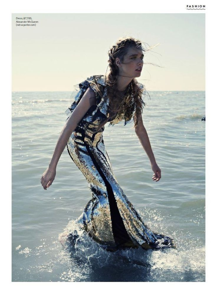 In the ocean, Beegee Margenyte models a silver sequined dress for Stylist Magazine UK November 2016 issue