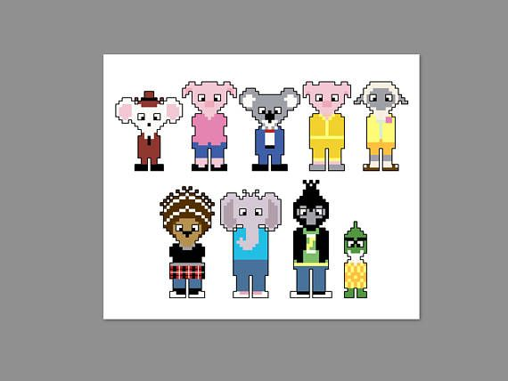 Sing Pixel People Character Cross Stitch PDF PATTERN ONLY