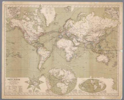 Allgemeine Welt-Karte in Mercator's Projection, zur Uebersicht der grossen Verkehrs-Linien über Land und Meer und neuerer Reisen um die Erde / von Hermann Berghaus :: Oude kaarten