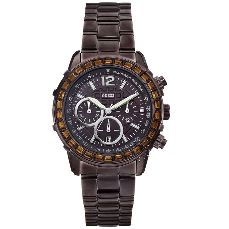 GUESS Crystal Brown Stainless Steel Bracelet Μοντέλο: W0016L4 Τιμή: 219€ http://www.oroloi.gr/product_info.php?products_id=29274