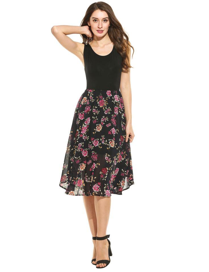 Women Fashion Round Neck Sleeveless Floral Chiffon Patchwork A-Line Dress dresslink.com