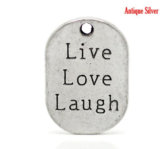 """Silver """"Live Love Langh"""" Charm 2 pc. Pendants 27mm x 18mm, jewelry tag, metal charm, DIY gift charms, wholesale jewelry supplies store shop on Etsy, $2.75"""