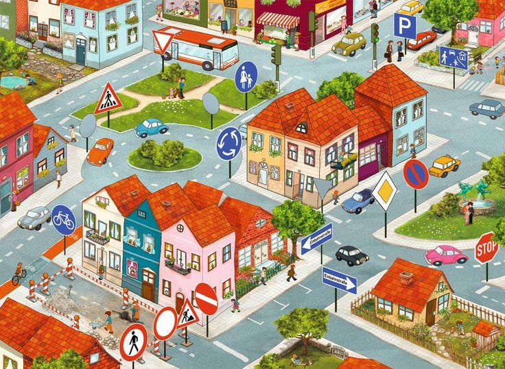 Открытки, картинка с изображением улицы города для детей