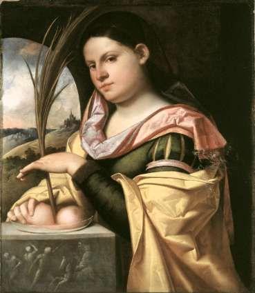 Giovanni Cariani, il Busi - Ritratto di giovane donna come Sant' Agata, 1516-17