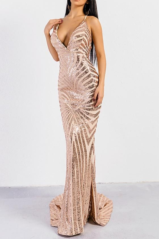 1c7fe50bf4 Honey Couture LILLEY Gold Sequin Low Back Mermaid Evening Gown Dress Honey  Couture One Honey Boutique AfterPay ZipPay OxiPay Sezzle Free Shipping