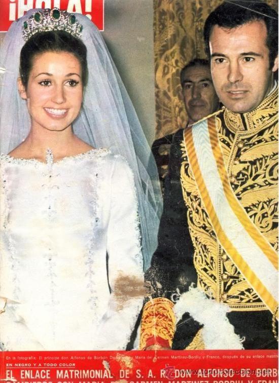 Maria y Carmen Martinez-Bordiu y Franco when she wed Alfonso, Duke of Anjou and Cadiz and Grandson of King Alfonso XIII of Spain in 1972