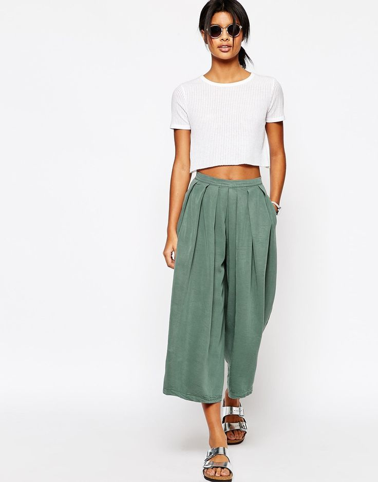 Image 1 of ASOS Pleated Drape Culottes