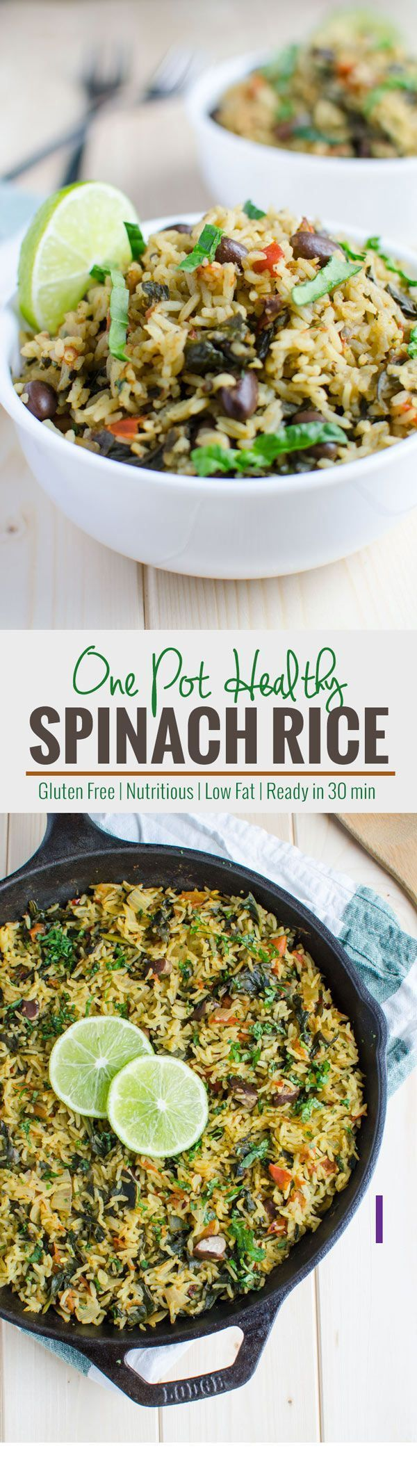 Filled with greens, beans and carbohydrates all-in-one pot spinach rice recipe. It is healthy and full of proteins, fibers, and vitamins.