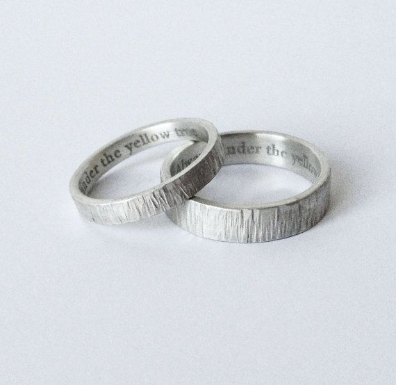 simple engraved wedding rings - handmade hammered silver wedding bands 5mm & 3mm satin finish wedding ring, bark rings -  custom made