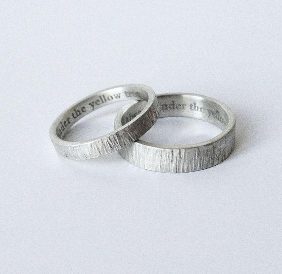 Simple engraved wedding rings handmade hammered silver wedding bands