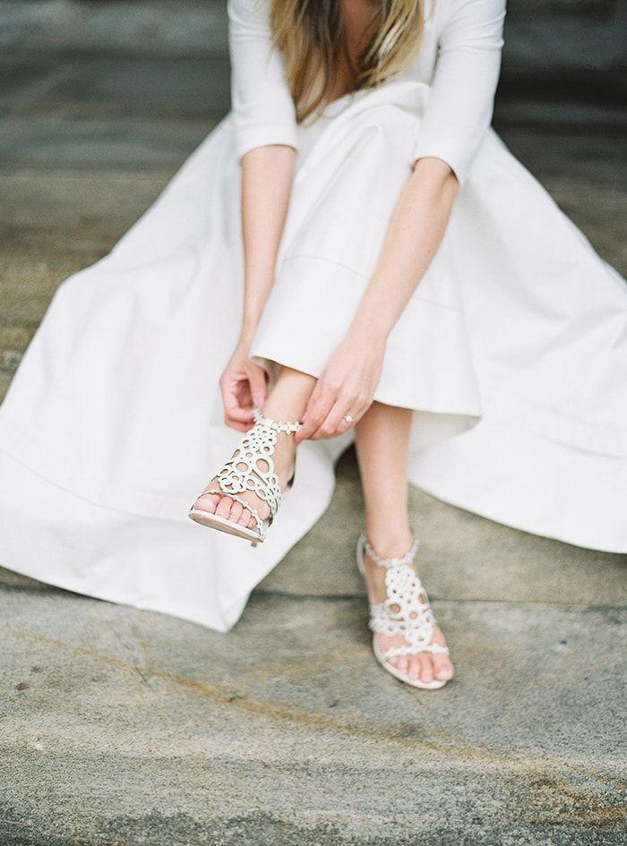 Unique white wedding heels with geometric detail.