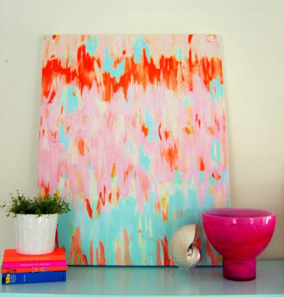FLAMINGO ABSTRACT on stretched canvas 24x30 by annechovie on Etsy