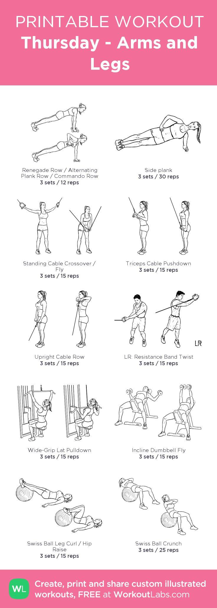 Thursday - Arms and Legs:my custom printable workout by @WorkoutLabs #workoutlabs #customworkout