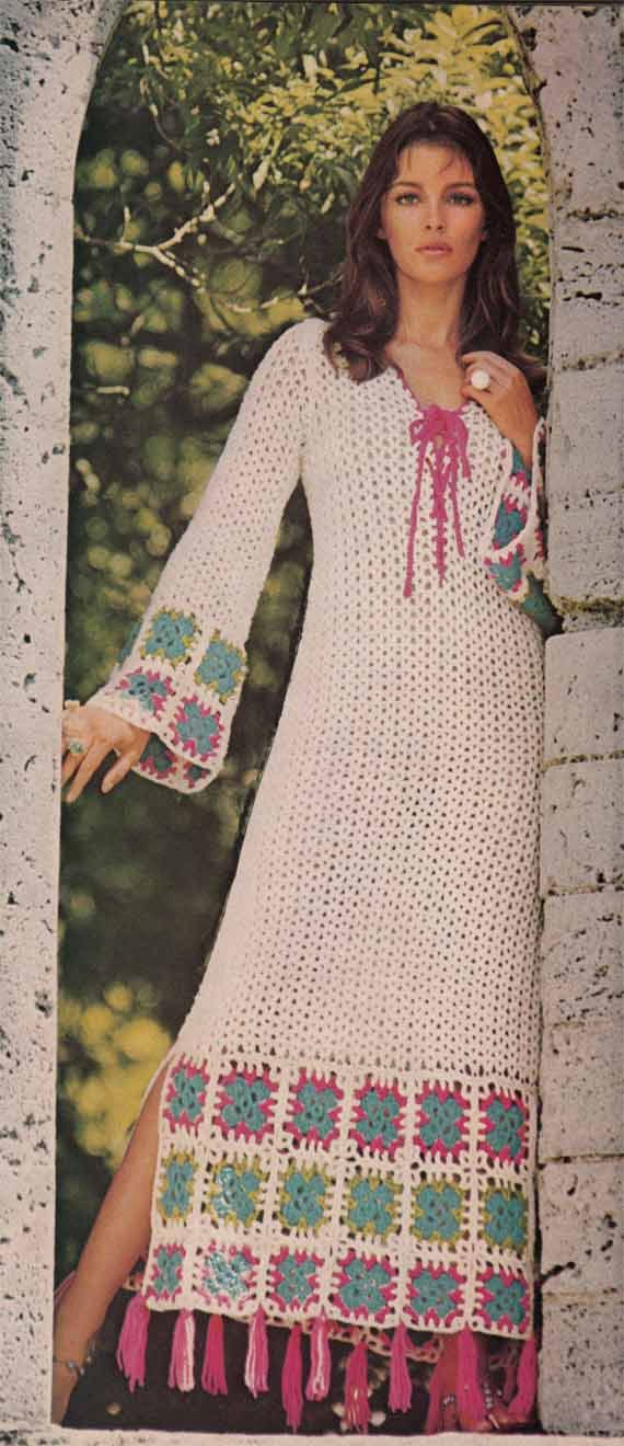 1970s VINTAGE CROCHET PATTERN - Boho Maxi Dress, Granny Squares, Folk/Romantic/Ethnic style Instant Download Pdf from GrannyTakesATrip 0039
