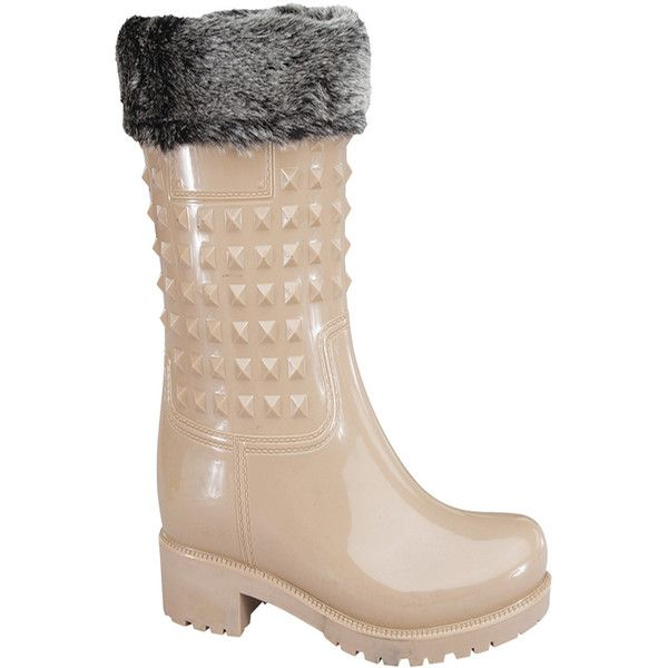 nude rubber studded accent casual knee high rain boots ($9.99) ❤ liked on Polyvore featuring shoes, boots, nude, knee high rubber boots, wellington boots, wellies boots, rubber rain boots and knee high boots