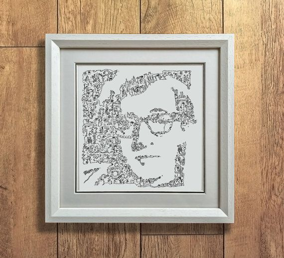 Woody Allen  Doodle portrait with stories and by DrawInside