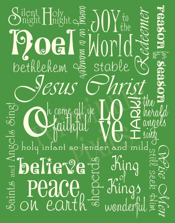 SUBWAY ART - The Meaning of Christmas 11x14 Green and White Instant Download