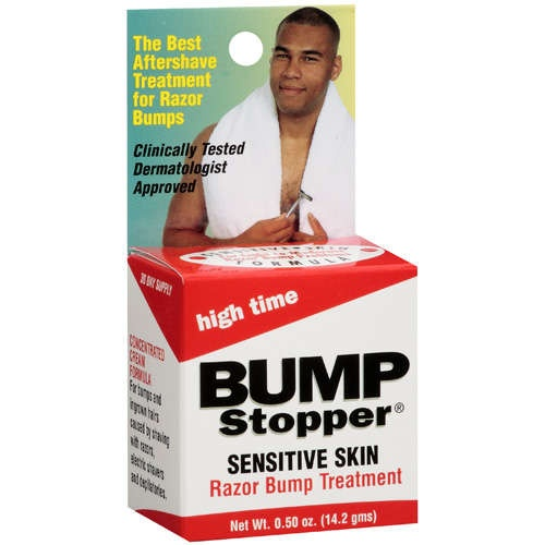 High Time: Razor Bump Treatment Sensitive Skin Bump Stopper, .5 Oz- supposed to be great to get rid of bumps along your bikini line as well.