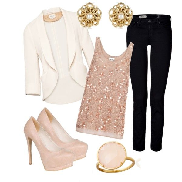 : Date Night, Lace Tops, Blushes Pink, White Blazers, Cute Outfits, Pale Pink, Black Jeans, Blazers Outfits, Datenight
