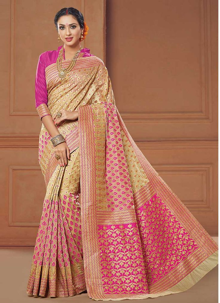 Buy Beige N Magenta Art Silk Saree online from the wide collection of sari.  This Beige | Magenta colored sari in Art Silk fabric goes well with any occasion. Shop online Designer sari from cbazaar at the lowest price.
