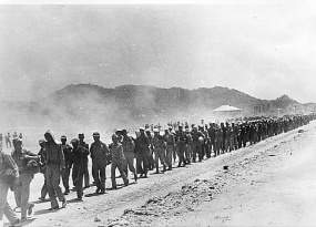 THE BATAAN DEATH MARCHwasatragedy of epic proportions with 76,000 American and Filipinoprisoners of warforcibly transferred, onfoot, bythe Imperial Japanese Army to Bataan.Even asthe American and Filipino troops repelled the Japanese for several months, they were forced to retreat to wait forsupplies and reinforcements. But the Japanese had cut off all routes to the Philippines, preventing a rescue byU.S.Militaryand the troops were forced to surrender on April 4, 1942.