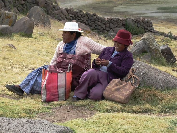 Indigenous women by the roadside west of Puno, Peru.