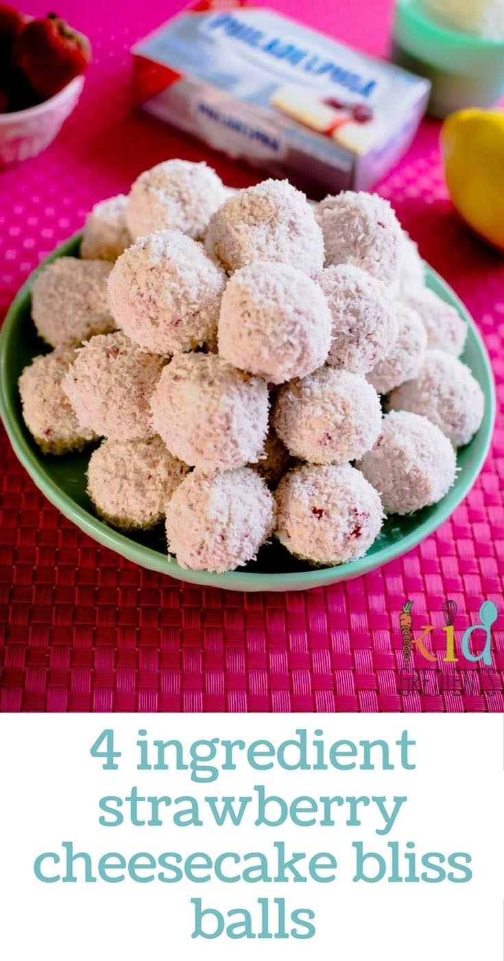 4 ingredient strawberry cheesecake bliss balls perfect for the lunchbox and a super easy recipe to make with the kids.