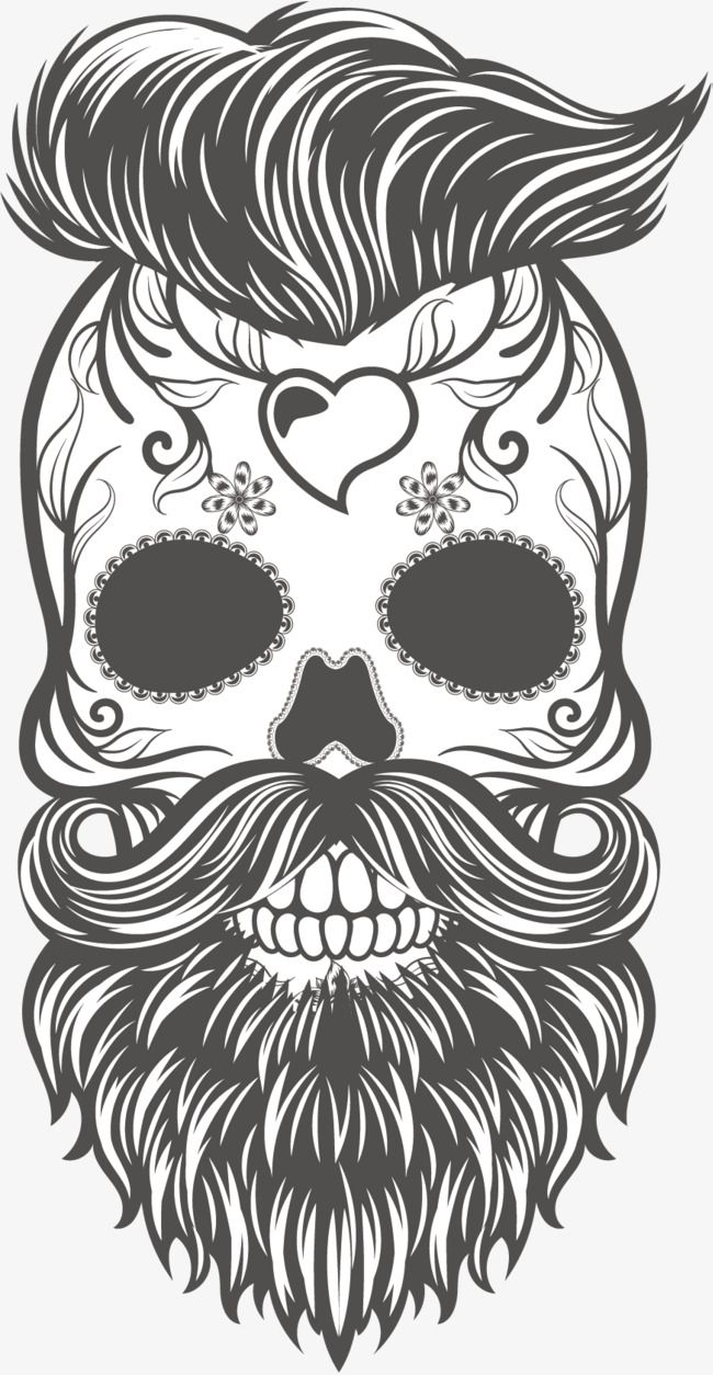 Vector Hand Painted Black And White Skull Skeleton Vector