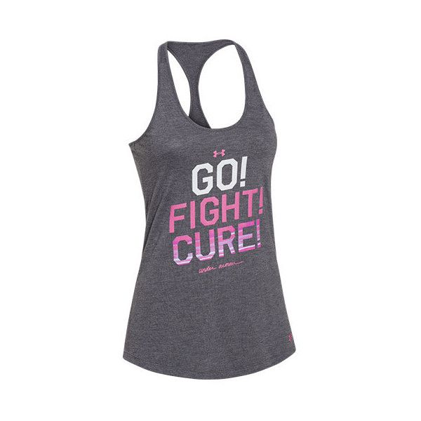 UNDER ARMOUR Women's Under Armour Power In Pink Go Fight Cure Tank ($24) ❤ liked on Polyvore featuring activewear, activewear tops, tops, under armour and under armour sportswear