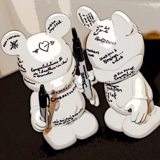Wedding Guestbook Idea For Disney Lovers. Large White Vinylmations. Cute.