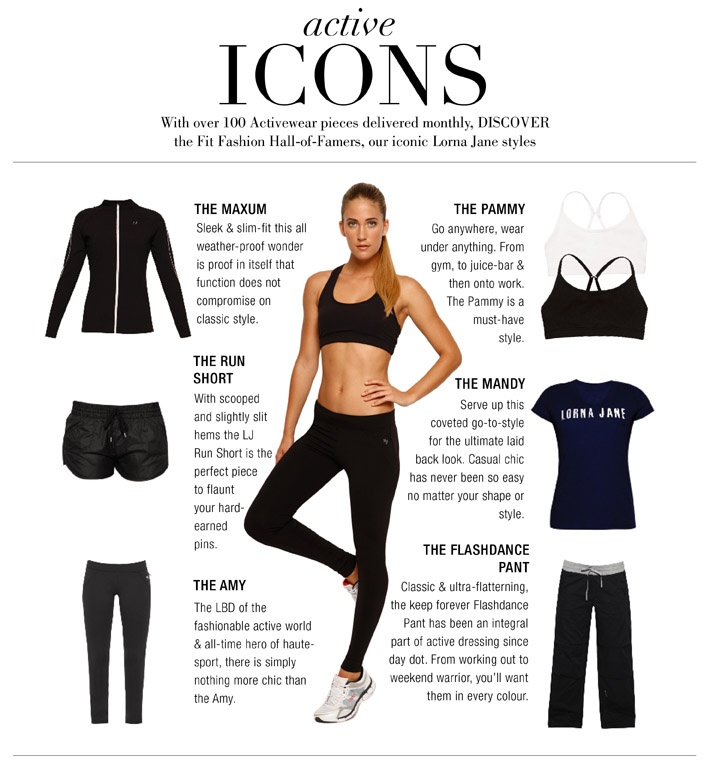 The basics for any workout wardrobe done with Lorna Jane style...