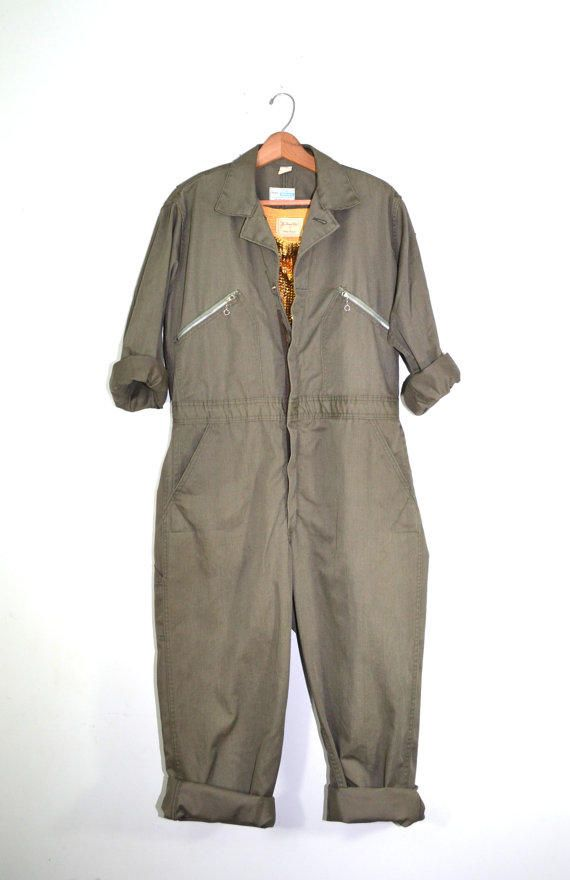 Vintage Coveralls Mechanics Coveralls Jumpsuit Green Coveralls 1960s Sears Nation-Alls Work Jumpsuit Rockabilly Jumpsuit from founditinatlanta on Etsy.