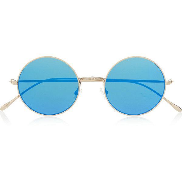 Illesteva Porto Cervo round-frame metal mirrored sunglasses, Women's found on Polyvore