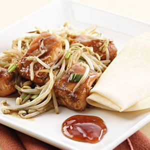 We use a generous amount of fiber- and vitamin C-rich bean sprouts in this quick stir-fry that combines tender cubes of salmon and a rich black bean-garlic sauce. Make it a Meal: Serve with store-bou...see more