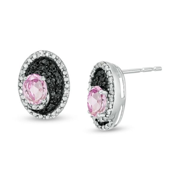 Pink Sapphire Peardrop Gemstone Sterling Silver Stud Earrings