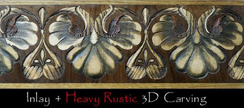 Shell-Leaf heavy rustic relief carving and burning after inlay. Shell-Leaf wood floor border. Inlaid + relief carved & burned. #border #floorborder #woodfloorborder #woodfloor #wood #woodworking #woodfloordesign #inlay #intarsia #art #design #floor #floormedallion #functionalart #hardwoodfloor #inlaid #marquetry #pattern #parquet #woodinlay