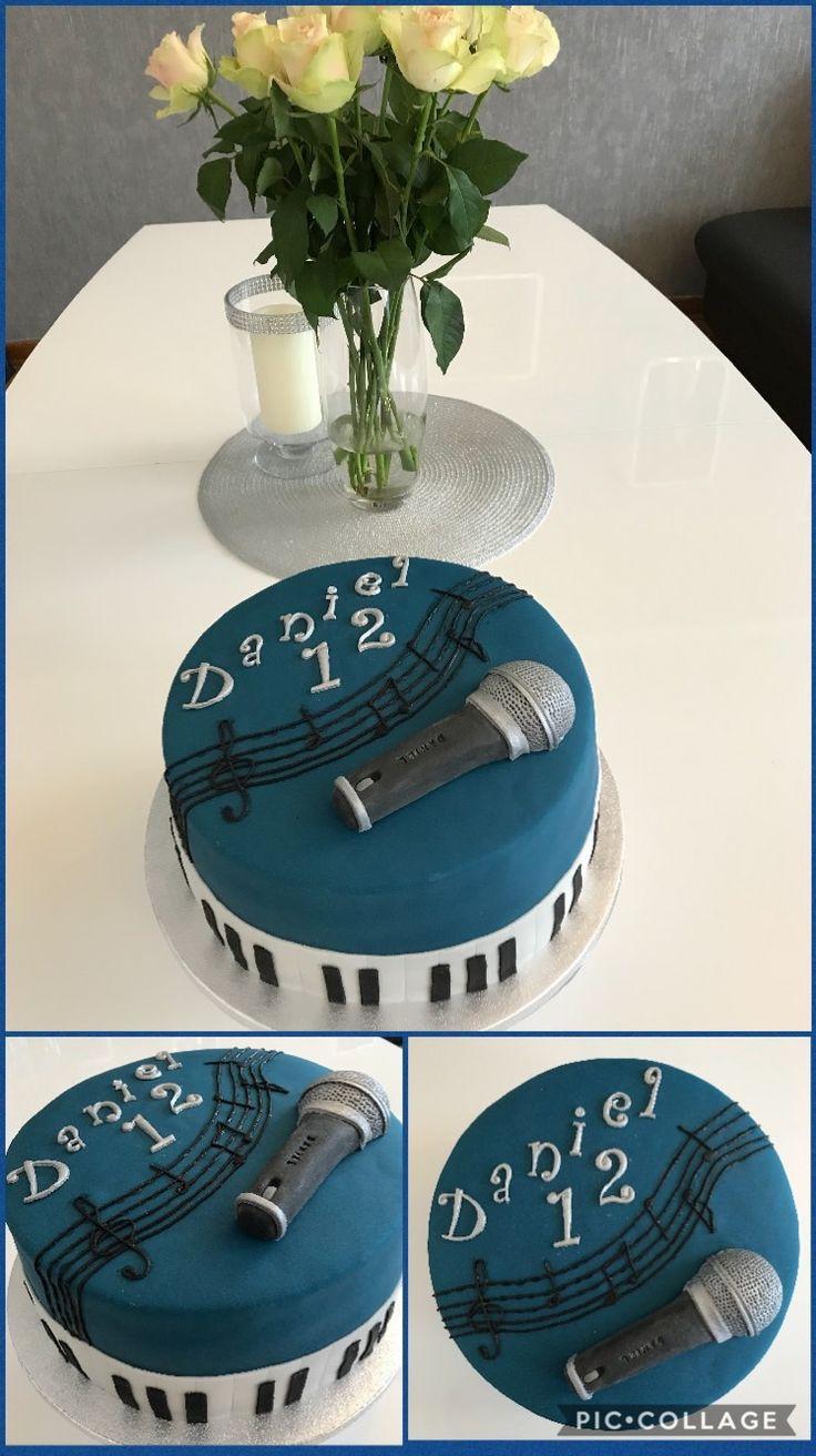 Fondanttorte/Mikrofon Fondant/ Geburtstagstorte Junge 12/ elegant/ microphone fondant/ boy/ birthday cake