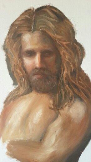 """""""Samson"""" - 2nd portrait painting in oil by Santi vd Merwe"""