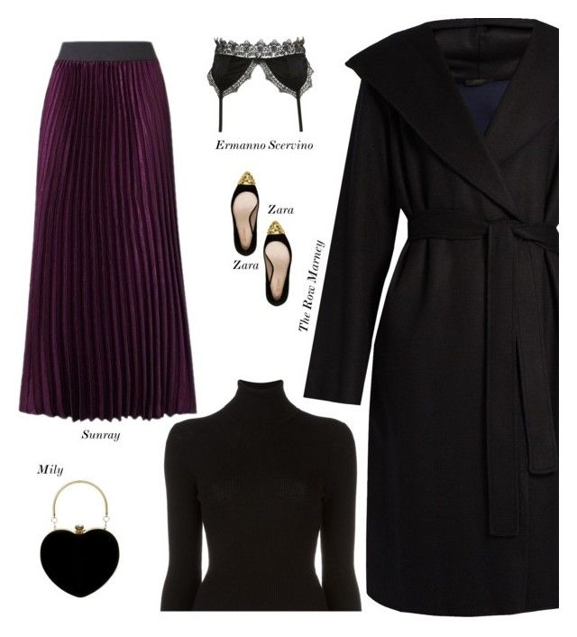 """""""Sexy Modest Winter Date Outfit"""" by s-thinks ❤ liked on Polyvore featuring The Row, Zara, Ermanno Scervino Lingerie, BLK DNM and topset"""
