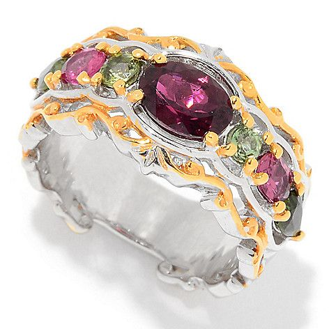 160-992 - Gems en Vogue 1.79ctw Pink & Green Tourmaline Band Ring