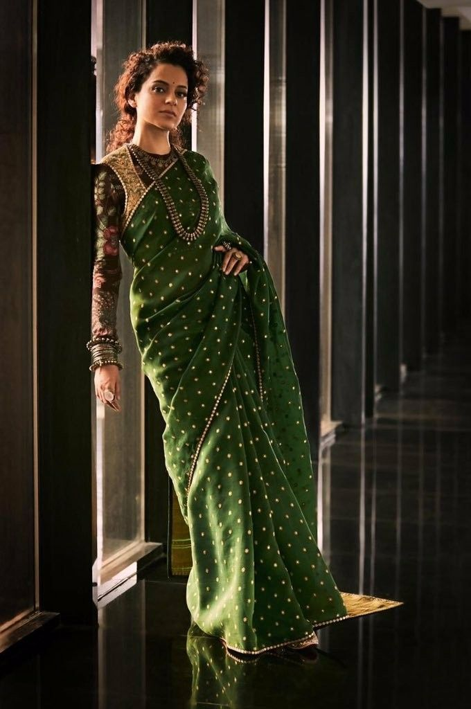 33b0406639 Kangana Ranaut - Bollywood Actress | Bollywood Actress in 2019 | Saree  draping styles, Saree, Chanderi silk saree