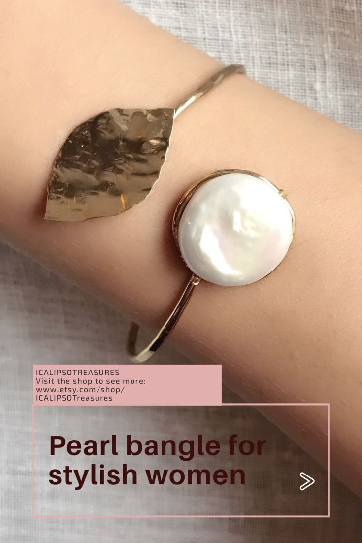 Pearl Bracelet For Nature Lovers Women, This Minimal Gold Bangle With Leaf  Shape Is A Perfect Christmas Or Birthday Gift For Your Wife, Mom, Sister,  ...