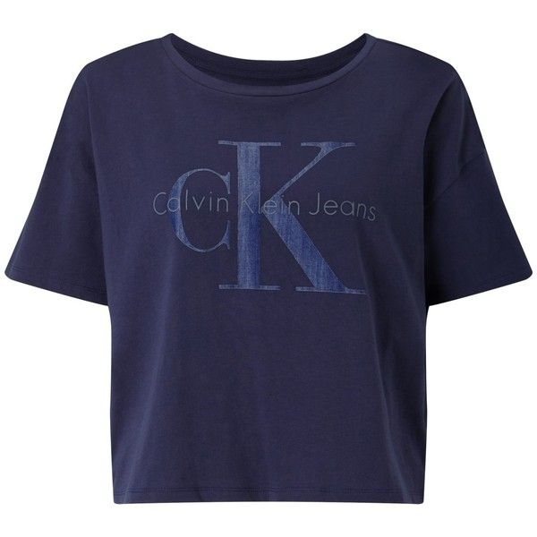 Calvin Klein Teca Cropped Logo T-Shirt, Navy Blazer (€52) ❤ liked on Polyvore featuring tops, t-shirts, shirts, tees, blue shirt, t shirt, round neck t shirt, print t shirts and long-sleeve crop tops