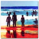 Looking to the Ocean (square) on canvas  #art #beach #people #abstract #red #blue  #blue http://www.thecanvasartfactory.com.au