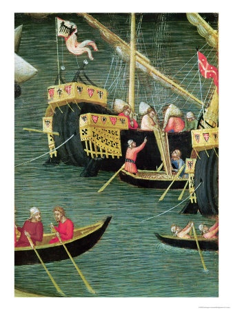 St Nicholas Saves Mira from Famine  Detail of a Ship  circa 1327-32 by Ambrogio Lorenzetti.