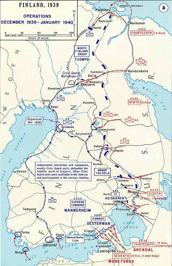 Map of The area of The Winter War U.S.S.R.VS FINLAND ...
