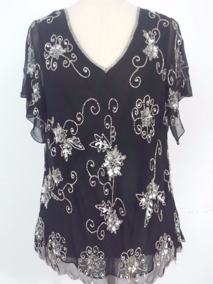 Adrianna Papell Essentials Black Beaded Evening Top Size