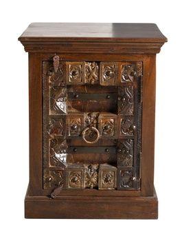 Handgjort nattduksbord i kolonialstil tillverkat av återvunnet trä, Almirah