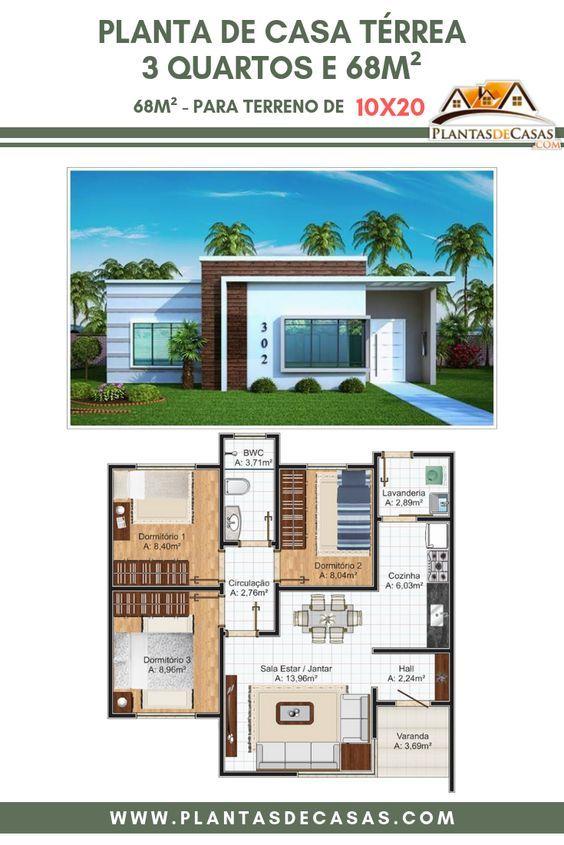 Projeto Arquitetônico: Casa Recife • Código 302 • R $ 420,00   – Floor Plans